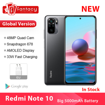 Xiaomi Redmi Note 10 Smartphone Snapdragon 678 AMOLED Display 48MP Quad Camera 33W Cellphone 4GB 128GB 1