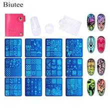 Biutee 12 Pcs Nail Stamping Plates Set Manicure +1 Polish Stamper + 1 Scraper DIY Stamp Template Tool Kits