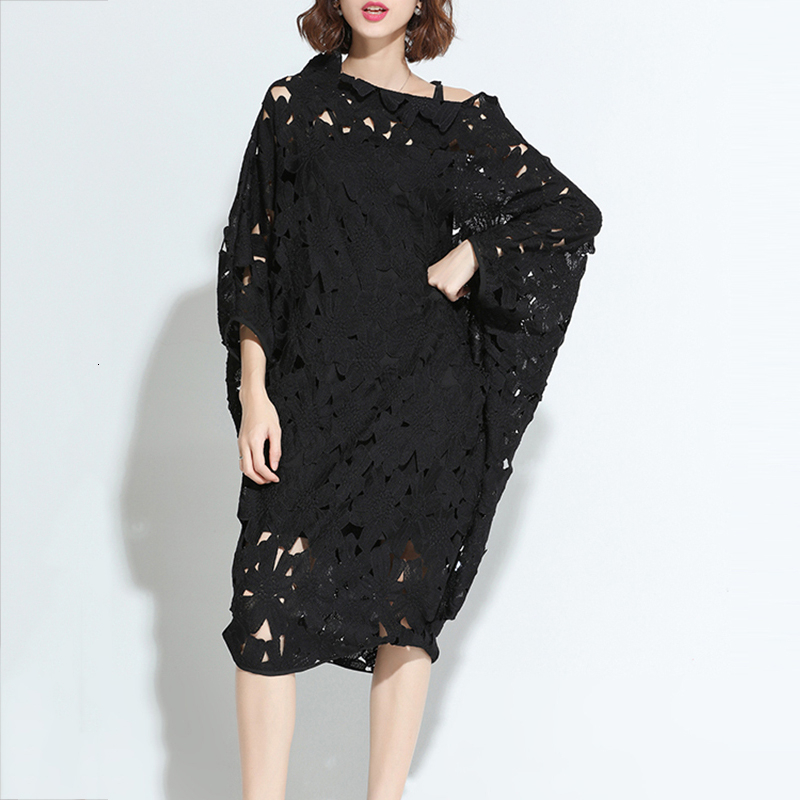 LANMREM 2020 autumn and winter slash neck batwing <font><b>sleeves</b></font> lace holld out <font><b>pullover</b></font> loose <font><b>sexy</b></font> <font><b>dress</b></font> inside underwear two pieces image