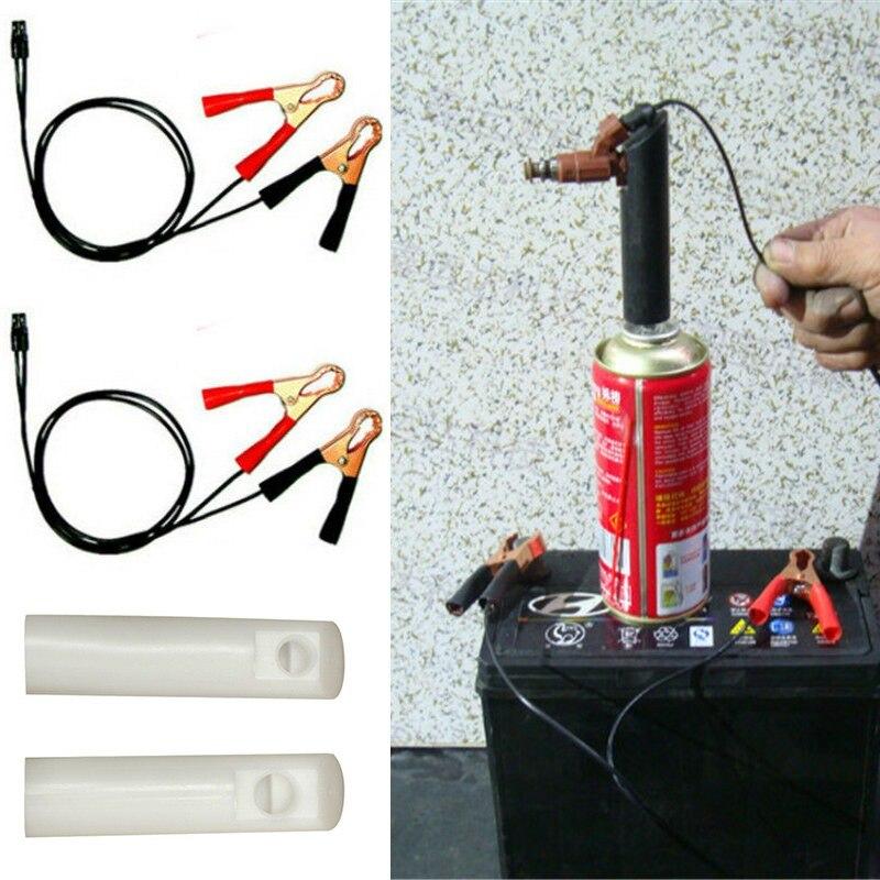 Boquilla de lavado automático del inyector de combustible del vehículo adaptador de limpiador Kit DIY herramienta de limpieza de la boquilla con 2 boquilla de limpieza del motor universal del coche