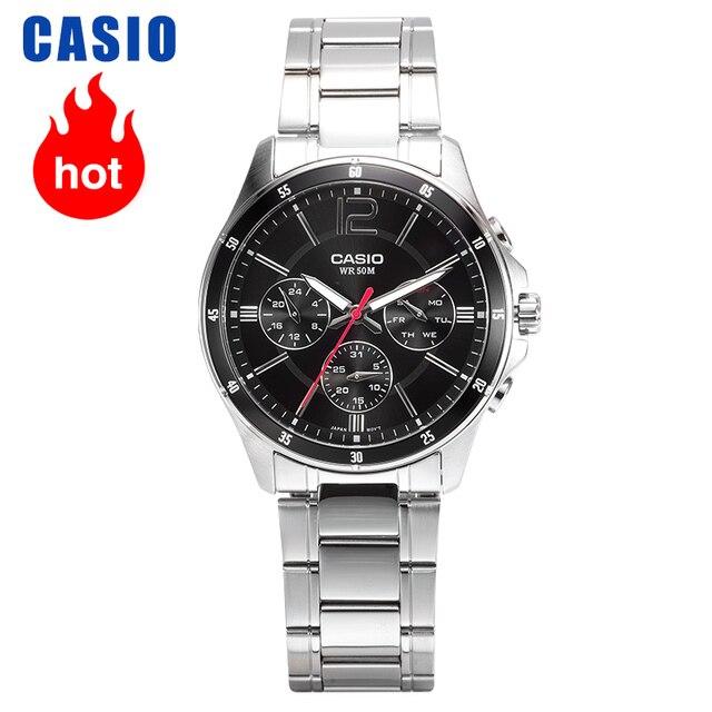 Casio relógio masculino casual de quartzo, relógio de negócios, série ponteiro, MTP 1374D 1A