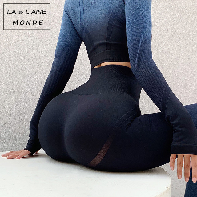 3PCS Yoga Set Ombre Gradient Seamless Set Workout Sportswear Gym Clothing Fitness Long Sleeve High Waist Leggings Sports Suits