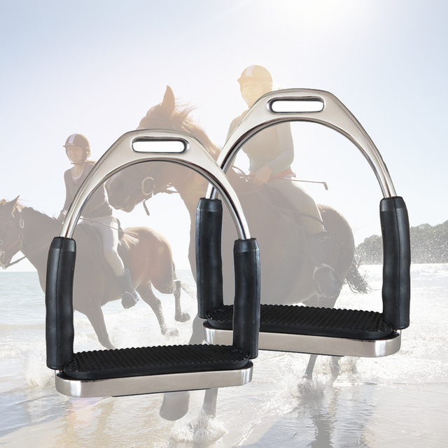 1 Pair Horse Riding Stainless Steel Durable Racing Stirrups Flexible Outdoor Saddle Pedals Anti Slip Sports Folding Safety 3