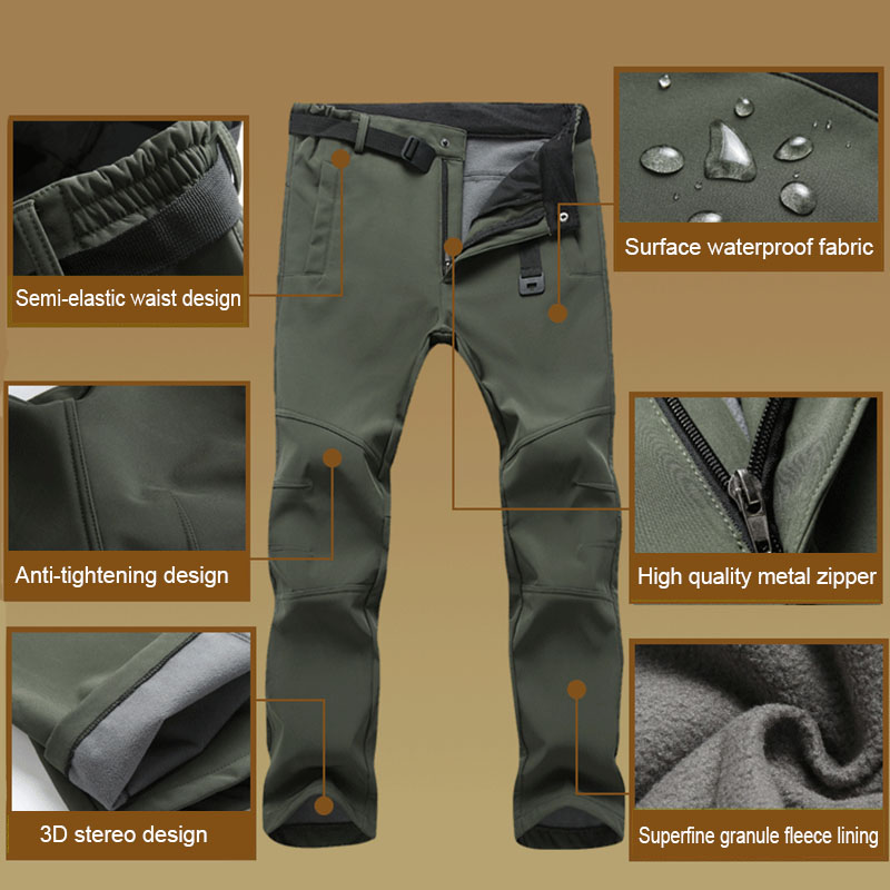 Hot 2019 Fashion Men Waterproof Outdoor Winter Slim Thickening Charge Warm Fleece Lining Pants Hiking Skiing Casual Trousers