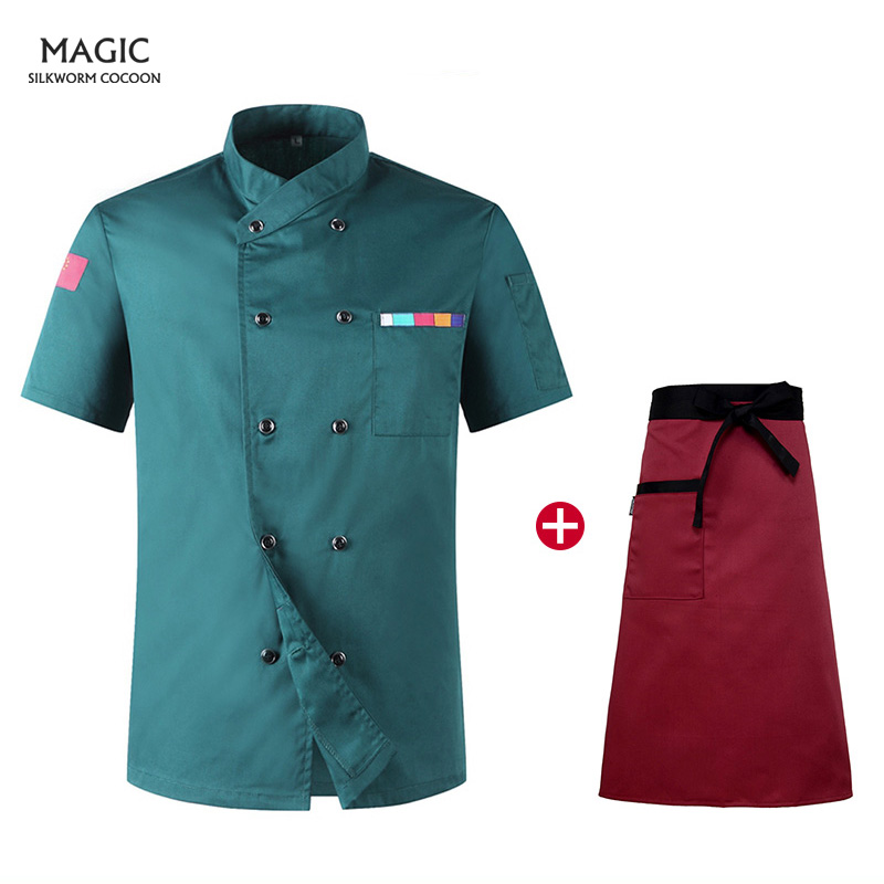 Hotel Chef Uniform Short Sleeve Chef Jacket Woman Men Breathable Chef Jacket Restaurant Kitchen Bakery Unisex Wholesale+apron
