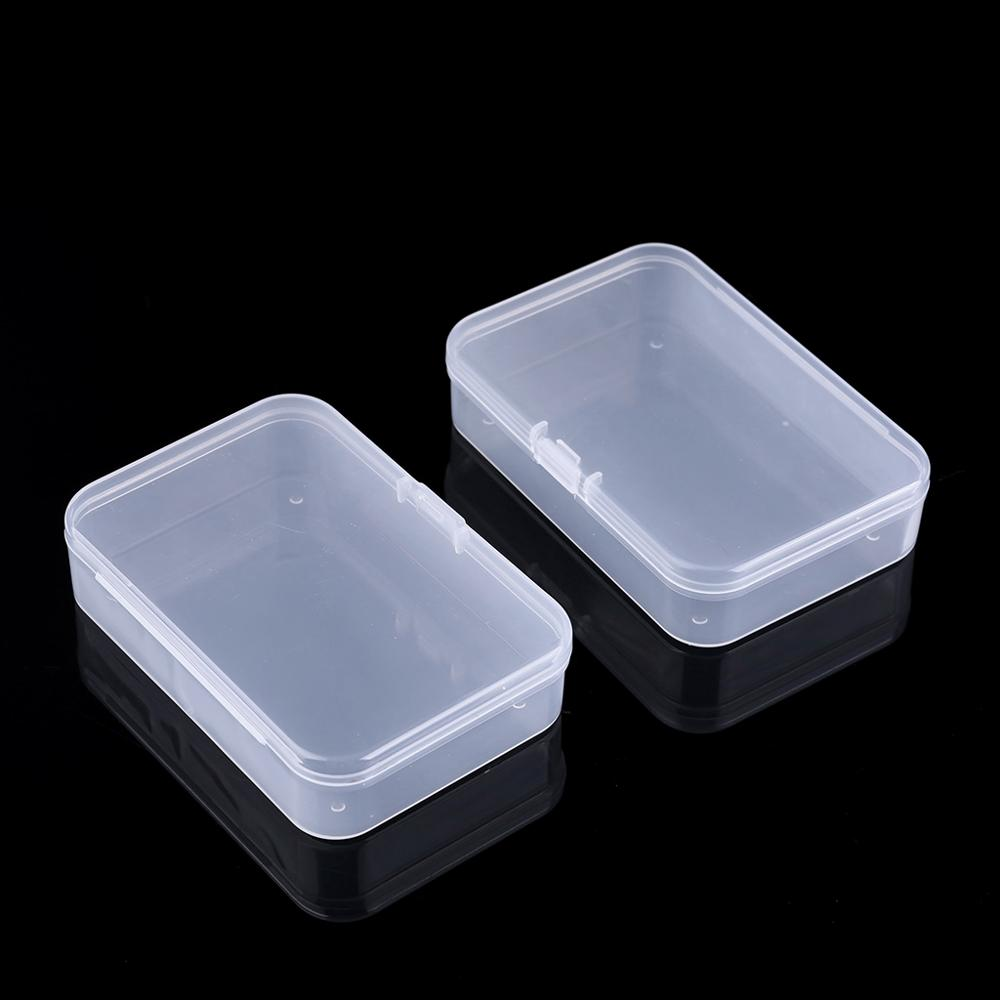 2Pcs Plastic Transparent Clear Storage Box Collection Container Case with Lid
