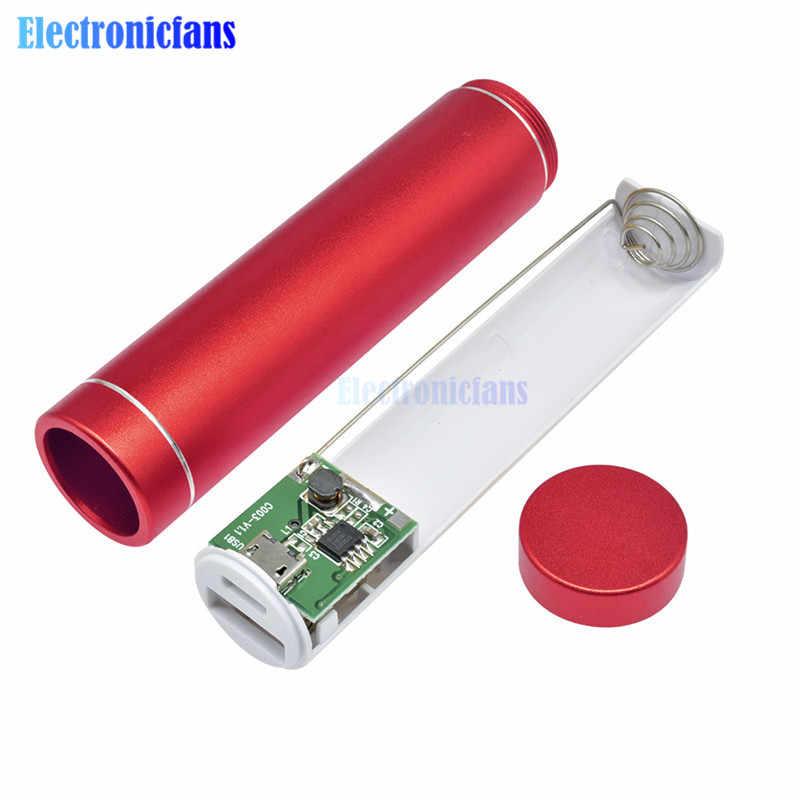 ססגוניות מתכת בנק כוח DIY ערכת אחסון מקרה תיבת משלוח ריתוך חליפת 1X18650 סוללה 5V 1A USB חיצוני מטען חכם טלפון