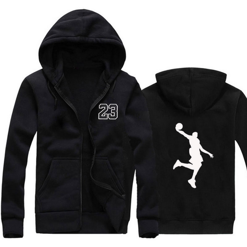 2019 new wool hip hop basketball hoodie men's fashion 23 printing men's hooded sweatshirt sportswear black street clothing zippe