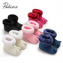 2019 Baby Shoes Infant Baby Girl Winter Cotton Knit Fleece Snow Boots Warm Fur Soft Solid Tassels Crib Shoes 0-18M(China)