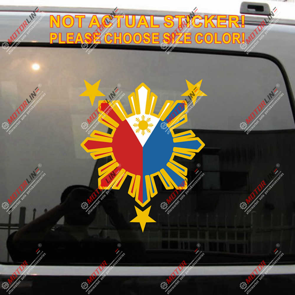 3S MOTORLINE 2X Yellow 4 Eight-ray Sun Star Philippines Flag Decal Sticker Car Vinyl Filipino Style b