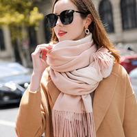 100% Wool Scarf For Women Luxury Wool Pink Shawls Wraps Thick Warm Winter Pure Wool Scarves for Ladies Fashion Tassels Scarfs