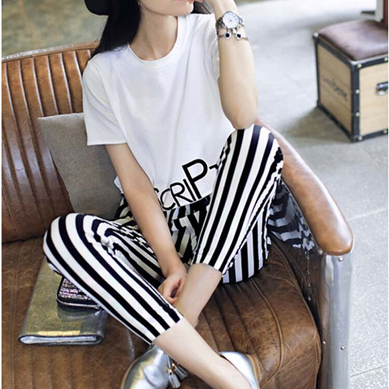 Summer 2 Piece Set Women's Suit White Printing Tops+Stripe Pants Suits Clothes For Female Causal Round Neck Shirt & Slim Trouser