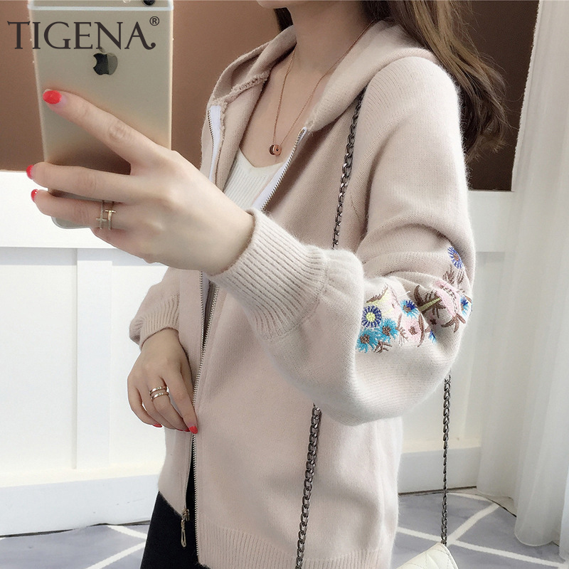 TIGENA Zipper Hooded Knitted Jacket Women 2019 Autumn Winter Long Sleeve Cardigan Women Floral Embroidery Cardigan Female