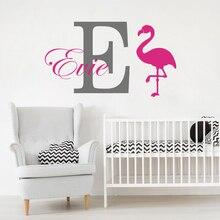 Custom Name Flamingo Animal Wall Sticker Children Room Nursery Personalized Name Flamingo Wall Decal Kids Room Vinyl Decor LW277 цена
