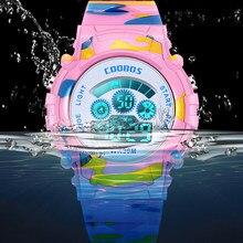 Часы наручные камуфляжные для девочек, спортивные многофункциональные цифровые, с календарем и будильником, подарок для детей, 2020