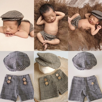 Popular New Pants and Hat Sets for Newborn Photography Props Costume Infant Baby Boy Little Gentleman Cool Outfits football baby hat and shorts suit hot sale baby handmade cotton costume newborns photography props infant outfits