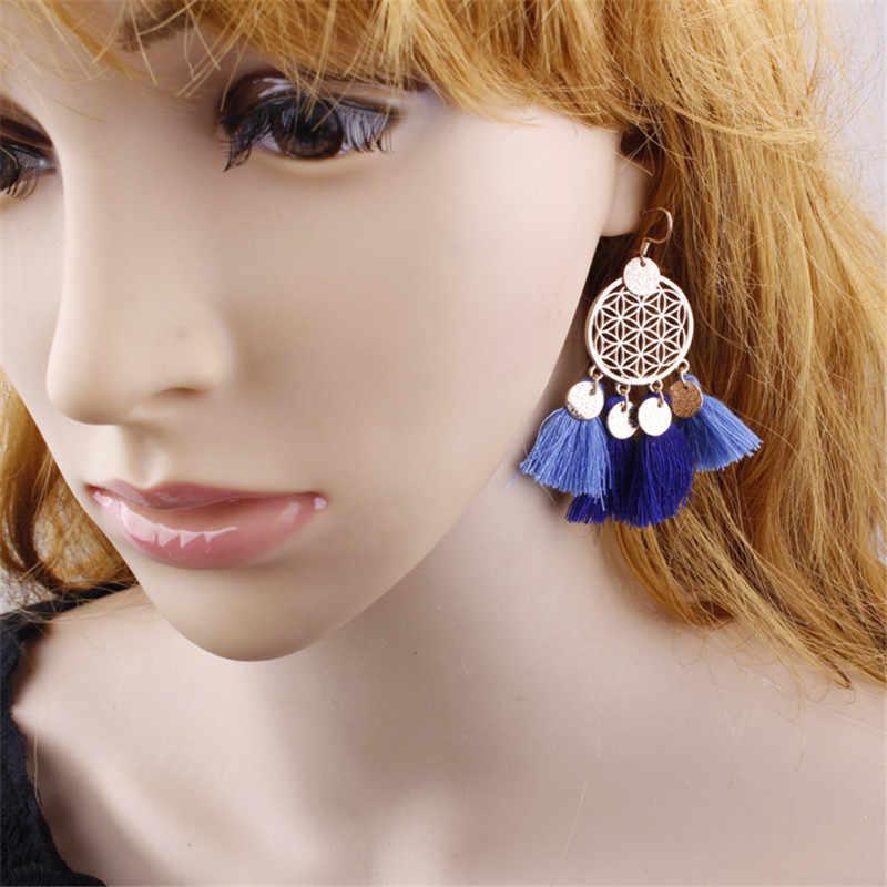 ใหม่ Bohemian ชาติพันธุ์เงินทองพู่ต่างหูแฟชั่นผู้หญิงเครื่องประดับหญิง Hoop Handmade ต่างหู VINTAGE พบของขวัญ