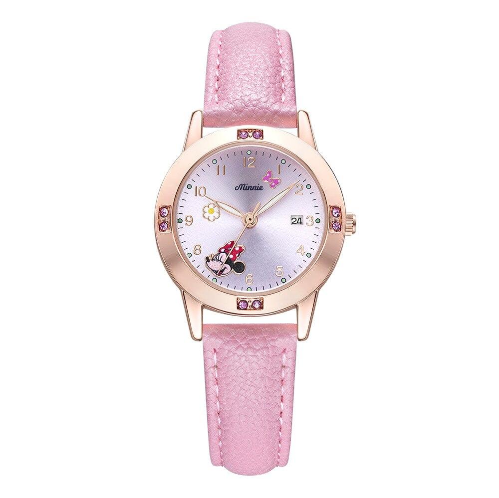 Disney Brand Girls Wristwatches Kids Children Quartz Leather Waterproof Child Watches Mickey Minnie Cartoon Clocks