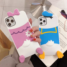 Suitable for iPhone 11 Pro Max XR Xs X 6 7 8 Plus Disney Donald Duck Phone Case Cartoon Cute Drop Resistant 7 Plus Silicone Case(China)