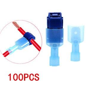 100 UNIDS/LOTE Scotch Lock Quick Splice Conectores de Cable Eléctrico Alambre De Bloqueo Conveniente Terminales de Crimpar Azul Para 1.0-2.5mm línea