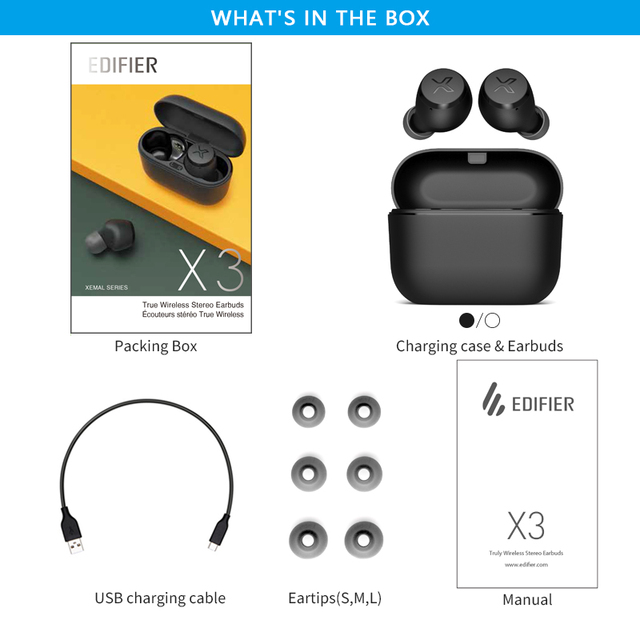 EDIFIER X3 TWS Wireless Bluetooth Earphone bluetooth 5.0 voice assistant touch control voice assistant up to 24hrs playback 5