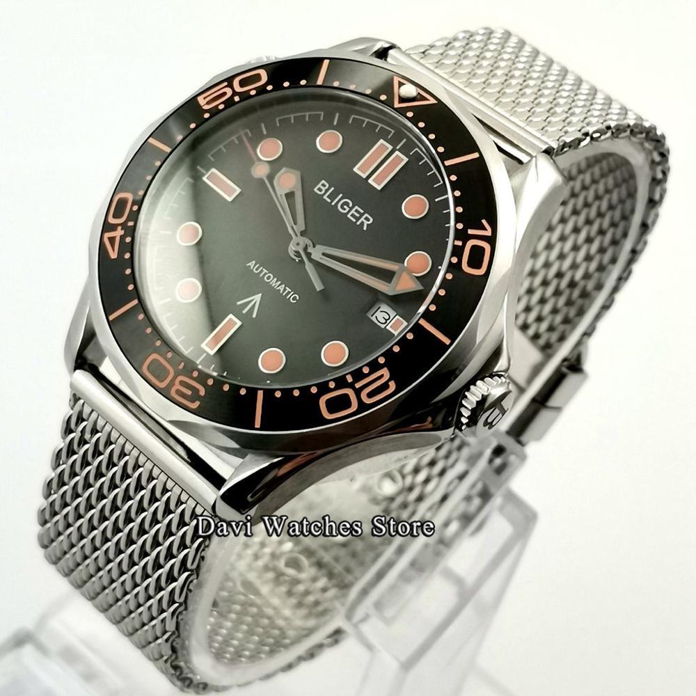 Bliger/Sterile 41mm Top Men's Watch Black Dial Mechanical Watch Ceramic Bezel Sapphire Glass Watch Man Automatic Watch