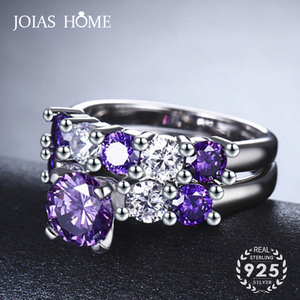 JoiasHome Amethyst Silver Women Ring With 7mm Round Gemstones Zircon Lady Fine Jewelry Wedding Party Gift Wholesale Size 6-10(China)