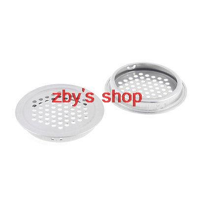 2pcs Home Hardware Silver Tone 53mm Bottom Dia Stainless Steel Round Air Vent Louver 65mm Upper Diameter