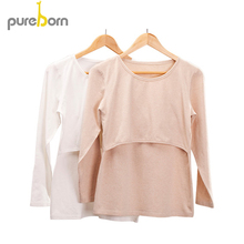Pureborn Maternity Clothes O neck Cotton Shirts for Pregnant Woman Long Sleeve Pregnancy Clothes Solid Nursing