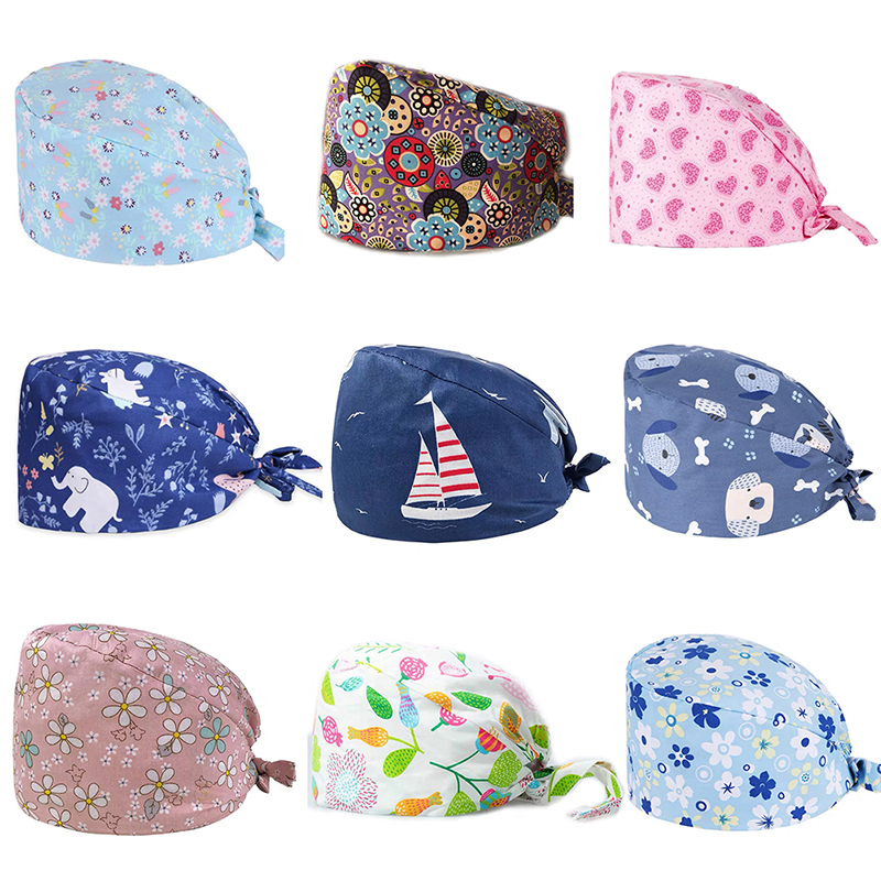 Unisex Bear Leaf Floral Cotton Adjustable Nurse Surgical-Scrub Cap Bouffant Hat  For Summer