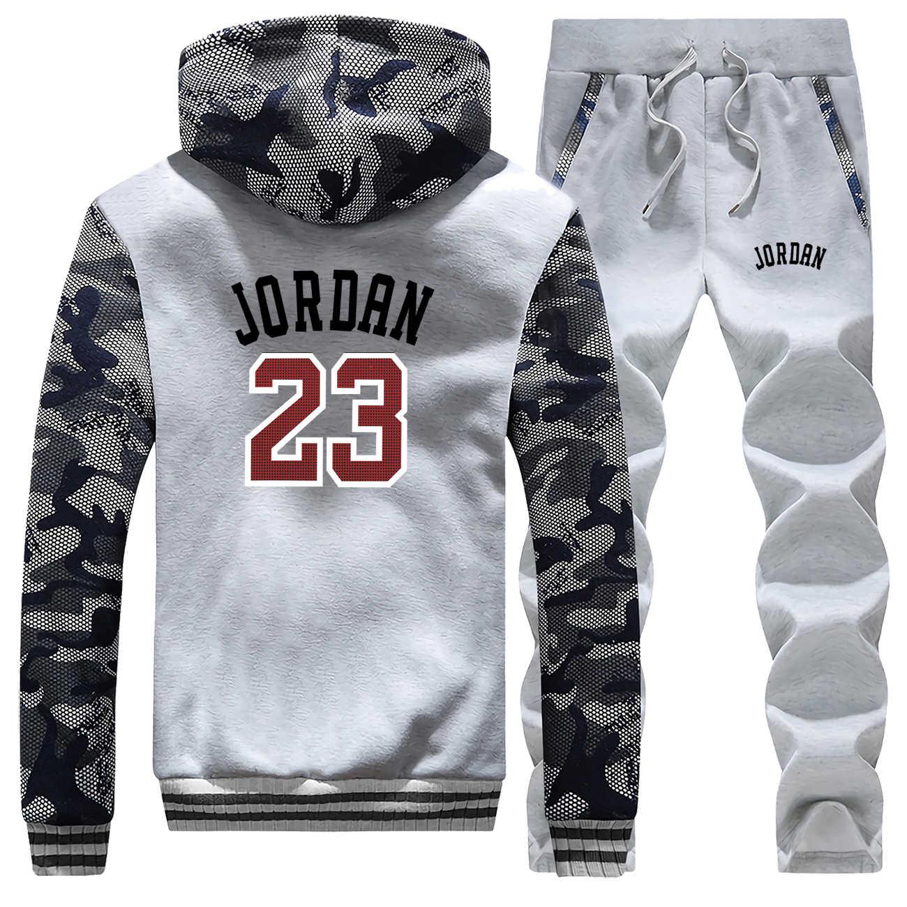 Jordan 23 Gedrukt Mens Jacket + Joggingbroek 2 Delige Set Mannen Hoodies Dikke Warme Rits Jassen Herfst Winter Nieuwe Trainingspak mannelijke Hoodie