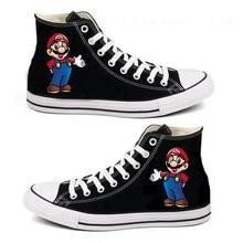 6 стильных кроссовок с принтом Марио; женская и мужская парусиновая обувь; повседневная обувь с героями мультфильмов; спортивная обувь для мальчиков и девочек-подростков; Цвет Черный