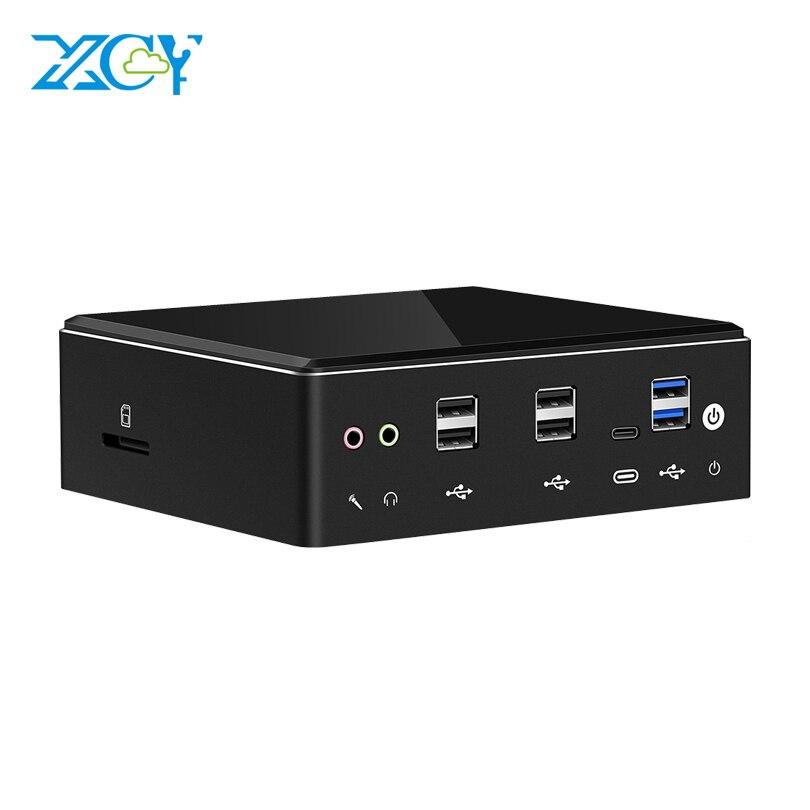 XCY Mini PC 2*DDR4 RAM Core I7 10510U 8550U 7500U I5-8250U 7200U I3-7020U M.2 4K UHD Bulti-in Wifi DP HDMI Dual LAN Computer