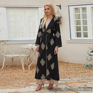 Open Abaya Dubai Kimono Cardigan Muslim Hijab Dress Kaftan Abayas Islamic Clothing For Women Caftan Marocain Robe Musulman Femme