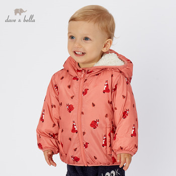 DB2858-D dave bella autumn winter baby boy print coat hooded children fashion outerwear kids coat image