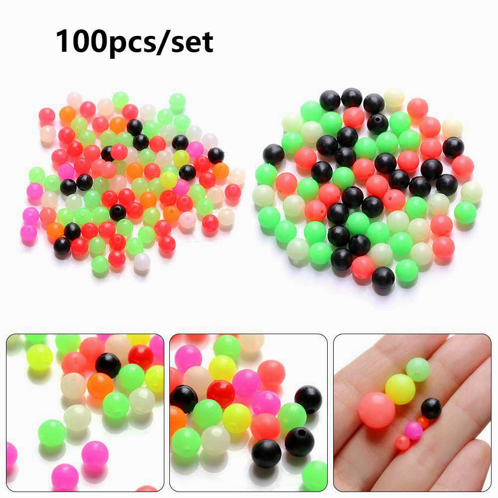 100PCS Round Mixed Color PE Plastic Cross Stopper Beads for Carp Rig Fish Baits Beads Outdoor Fishing Lures Tackle Accessories