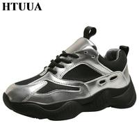 HTUUA Brand Designer Sneakers Women Glitter Silver White Comfortable Mesh Breathable Autumn Casual Platform Shoes Woman SX3226