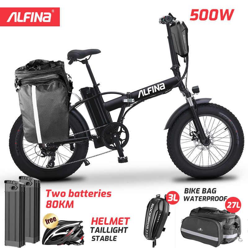 ALFINAใหม่ไฟฟ้าจักรยานSnow Mountainไฟฟ้าจักรยาน20นิ้ว4.0ไขมันยางEbike Beach Bicicleta Eletrica 500W 40KM
