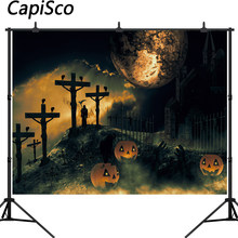 Capisco Halloween party Backdrop Pumpkin Haunted Cemetery Moon Backdrops for Photography Photo Background Photo Shoot Props(China)