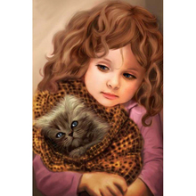 5D DIY Full Square Diamond Painting Cross Stitch Girl and Cat 3D Diamond Embroidery Rhinestone Mosaic Home Decoration Gift 5d diy full square diamond painting cross stitch girl and cat 3d diamond embroidery rhinestone mosaic home decoration gift