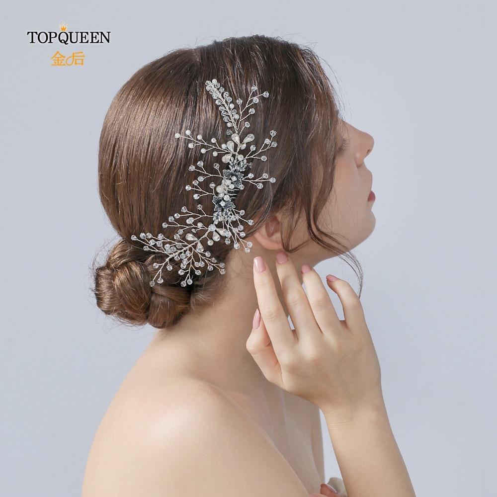 TOPQUEEN Wedding Comb Hair Pieces For Women Handmade Wedding Comb Crystal Wedding Tiara Hair Combs Bridal Headpieces HP02