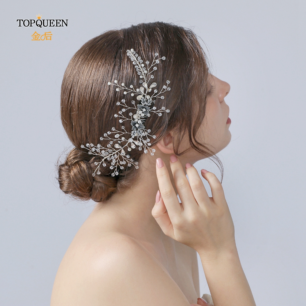 TOPQUEEN Wedding Comb Hair Pieces For Women Handmade Wedding Comb Crystal Wedding Tiara Hair Combs Headpieces HP02