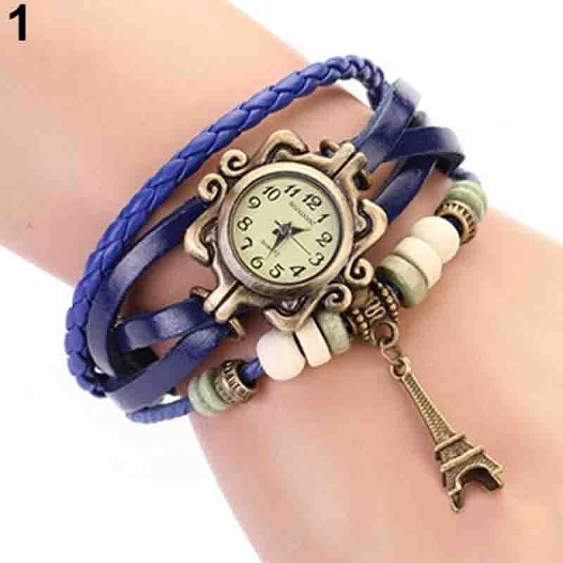 Beautiful Girl Lady Vintage Watch Women Eiffel Tower Quartz Leather Bracelet Watches 1GOR 6T45 93Y8 Reloj Mujer часы женские