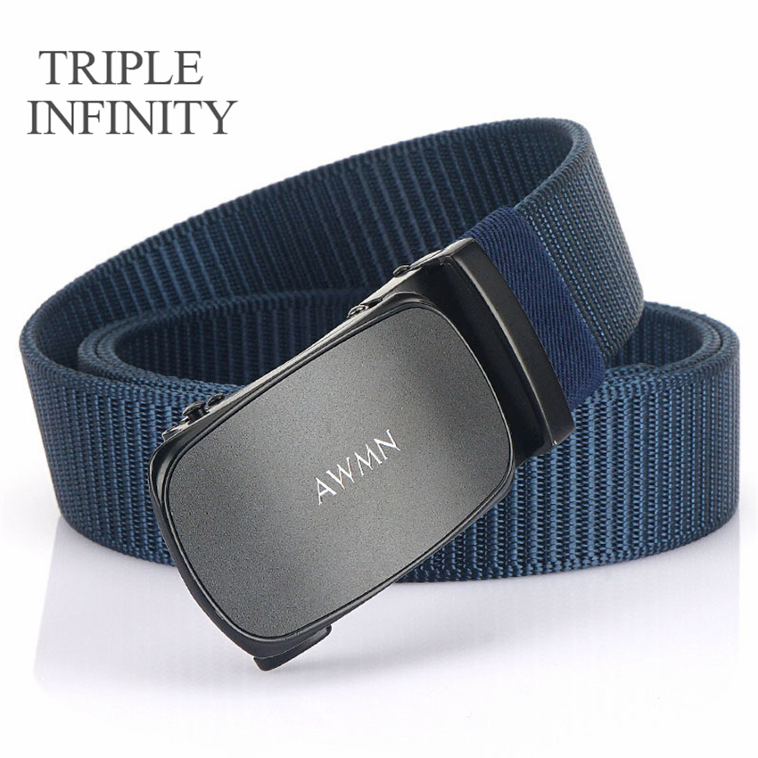 New Fashion Nylon Business Belt Metal Automatic Buckle Adjustable Belts For Men Military Fabric Belt High Quality Wear-resistant