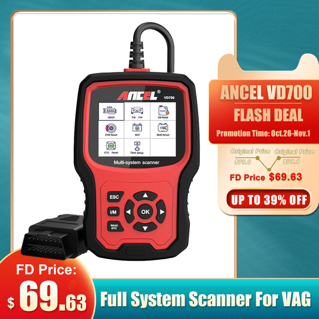 ANCEL VD700 OBD2 Scanner Diagnostic Tool For VAG Oil ABS EPB DPF SRS TPMS Reset OBD Automotive Scanner Car Diagnostic Tool