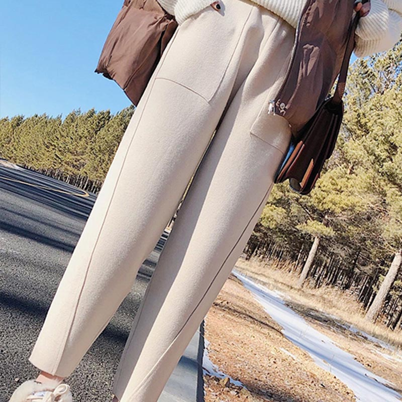 High Waisted Wool Blends Women's Harem Pants Plus Size Ankle-length Trousers For Women 2019 Winter Autumn Fashion Pants Female