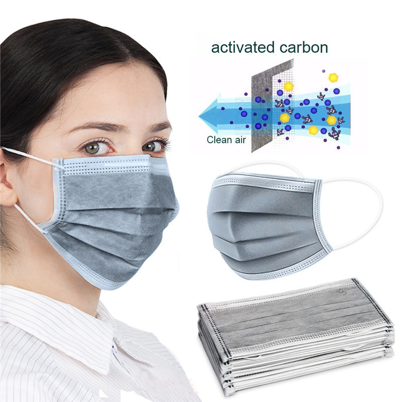 10/20/50/100/200Pcs Disposable Masks Activated Carbon 3 Layer Non-woven Mouth Masks