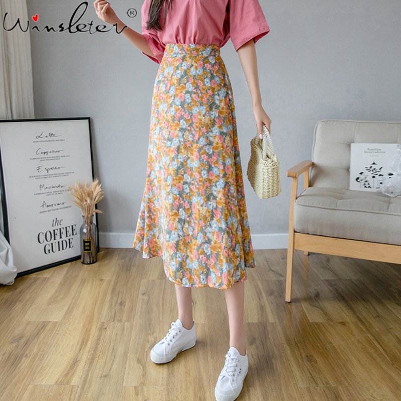 2020 Summer Fashion Retro Floral Print Skirts Womens Zipper High Waist Chic Printed Sweet Ladies Midi Skirt Saia Faldas B04911B