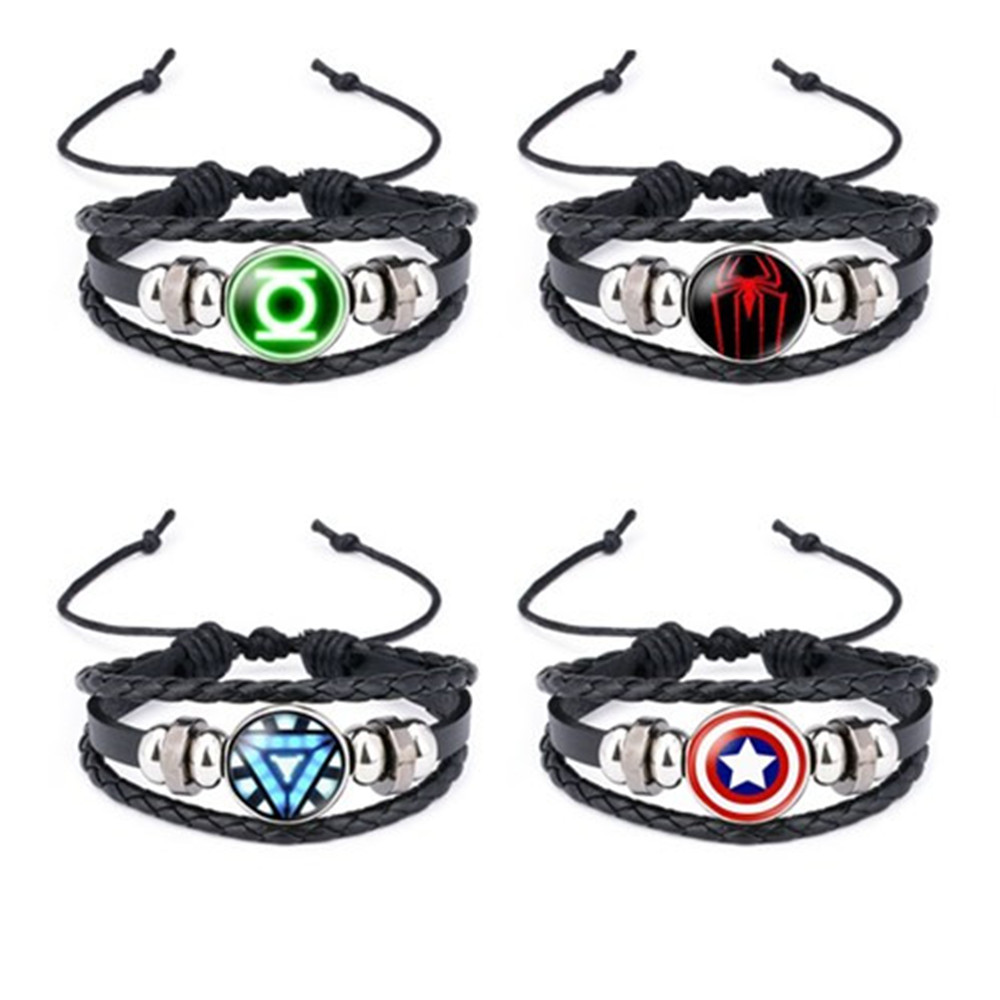 The Avengers Captain America Shield Deadpool Thor Charms Bracelet Kids Boy Punk Multilayer Leather Bracelete Jewelry