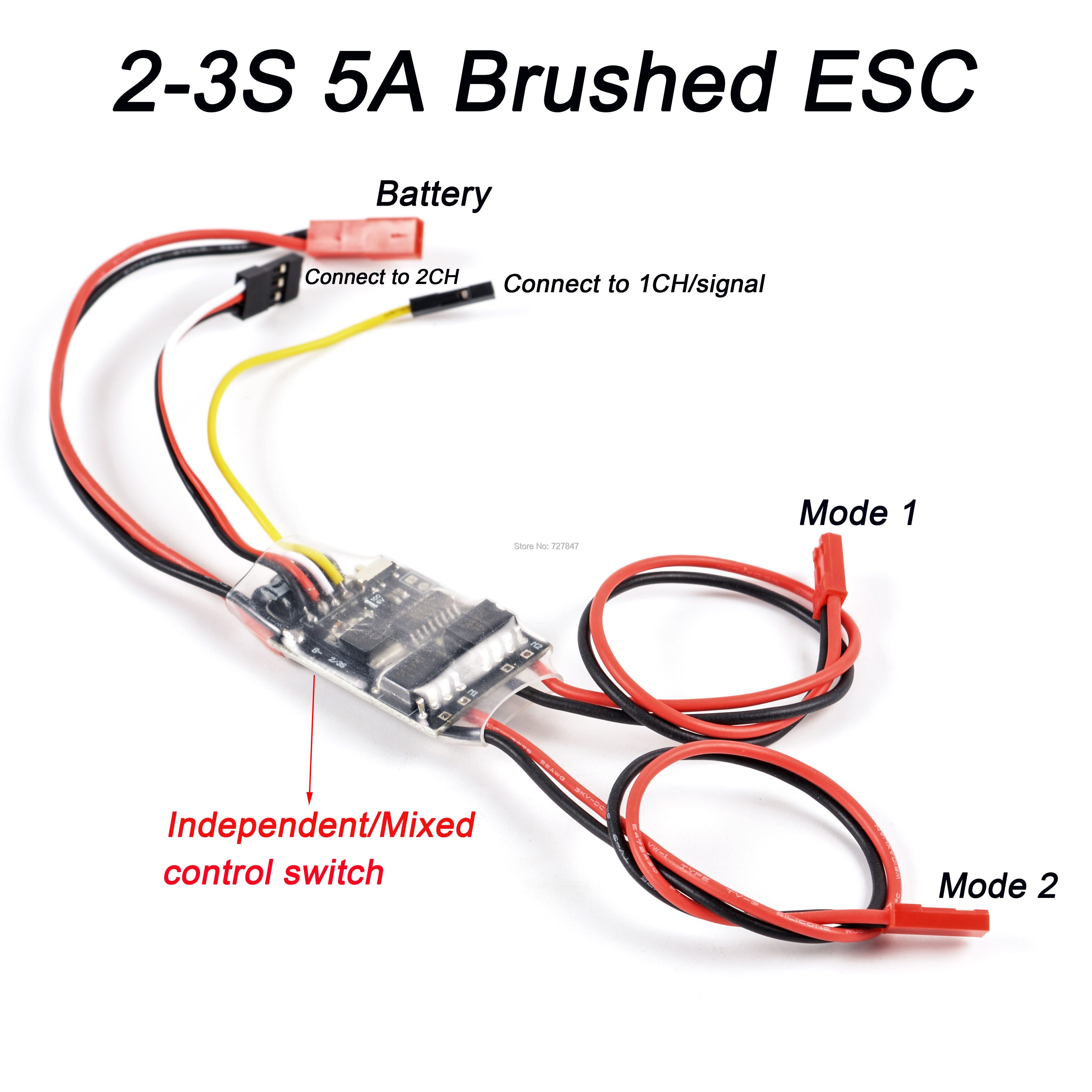 Dual Way Bidirectional Brushed Esc 2s-3s Lipo 5a Esc Speed Control For Rc Mod ZT
